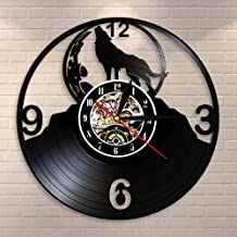 Reloj de pared LED de vinilo Silueta de lobo aullando en la luna Reloj de pared de luna llena Tribal Wolf Animal Arte de pared Disco de vinilo Reloj de pared Lobos Admiradores GIF