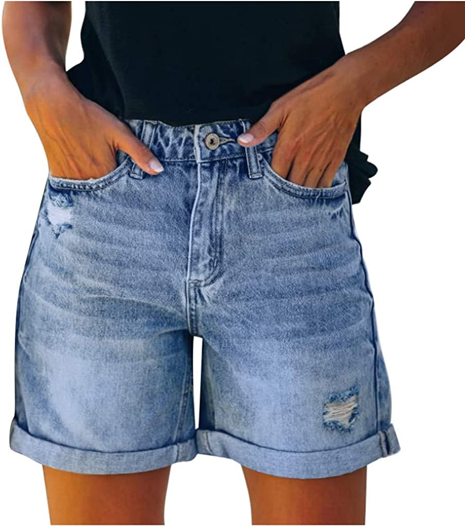 KAGAYD Women's Casual Summer Mid Waist Stretchy Rolled Hem Denim Jean Shorts Junior Short Jeans with Pockets