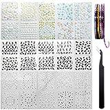 AYWFEY 60 fogli nero bianco colorato fiore 3D mini nail art design decorazione decalcomanie adesivi falsi + 10 rotoli colori misti nastro per nail art + 1 pinzetta antistatica per donne ragazze