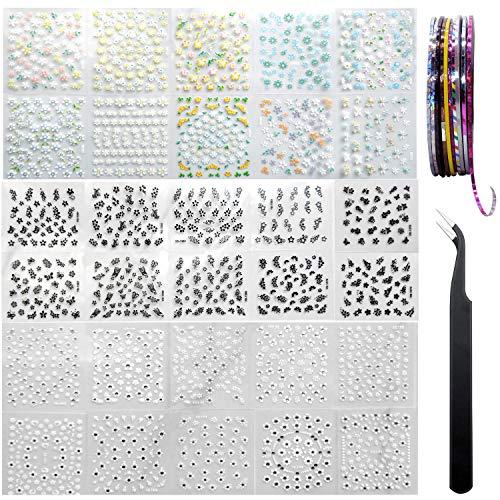 AYWFEY 60 hojas negro blanco flor colorida 3D Mini diseño de decoración de uñas + 10 rollos de cinta de rayas para decoración de uñas de colores + 1 pinza antiestática para mujeres niñas belleza DIY