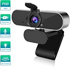 1080P Webcam with Microphone Noise Reduction, PC Webcam with Privacy Cover, Streaming Computer Web Camera 360 Degree Rotated, USB Webcam for Desktop Laptop Tripod Supported