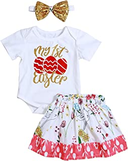 a0e8acbe1 My 1st Easter Outfit Baby Girl Short Sleeve Eggs Romper +Floral Skirt with  Headband 3PC