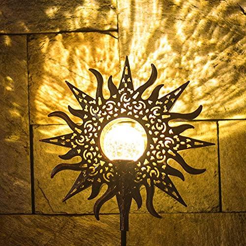 MOPOIN Luz de jardín solar, luz de camino solar, decoración de jardín LED de metal óxido blanco cálido lámparas solares impermeables para balcón de pasarela de césped de jardín exterior