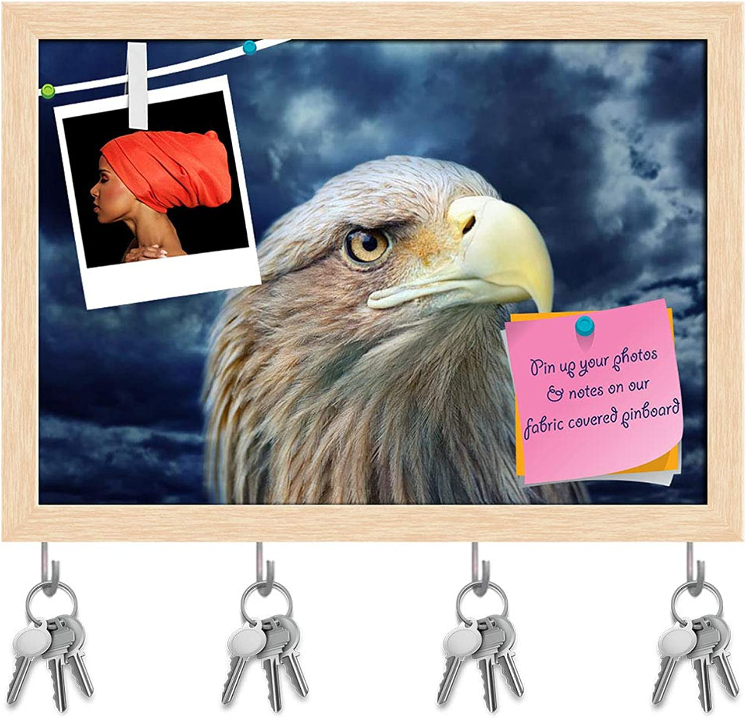 Artzfolio Eagle Face Key Holder Hooks   Notice Pin Board   Natural Brown Frame 16.8 X 12Inch