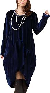 (Goldjapan)ゴールドジャパン 大きいサイズ レディース シフォン エレガント 高級 べロア バルーン パーティー ドレス ロングワンピース 長袖