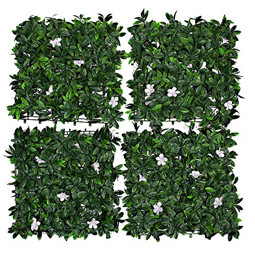 4 Pcs Artificial Green Wall Hedge with Rhododendron Leaves with White Flowers for Outdoor, Indoor, Garden, Fence, Backyard and Decor