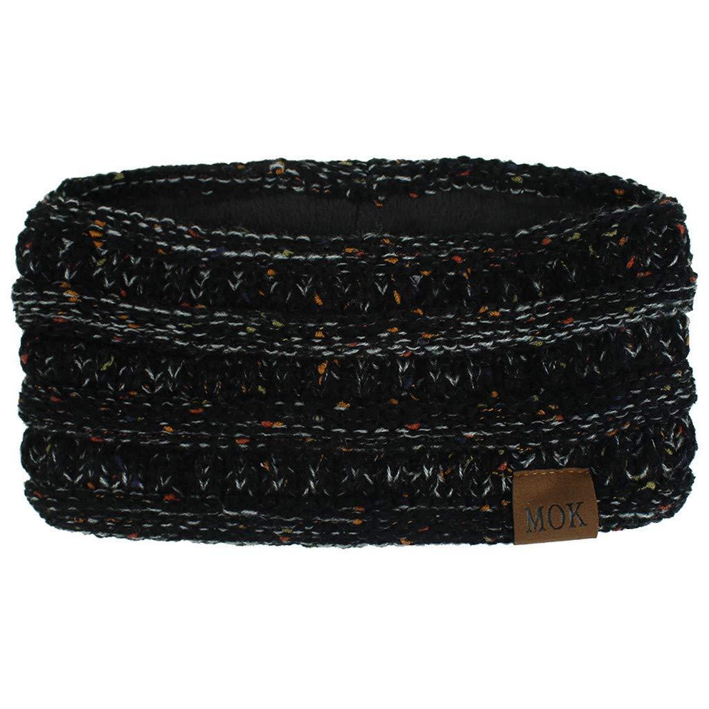 Womens Winter Ear Warmer Headband - Warm Winter Cable Knit Headband, Soft Stretchy Thick Fuzzy Headwrap Earwarmer (02-Dark Gray)