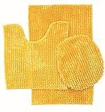 3 Piece Luxurious Butter Chenille Bath Rug Large Bath mat 19.5' x 31 Contour mat (19.5' x 17.5) (Yellow)