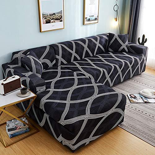 TLYMTD Funda Sofa Chaise Longue Brazo Izquierdo Funda De Sofá Universal Todo Incluido, Funda De Sofá Elástica Combinada A Prueba De Polvo para Cuatro Asientos (235-300Cm) Black-Wave