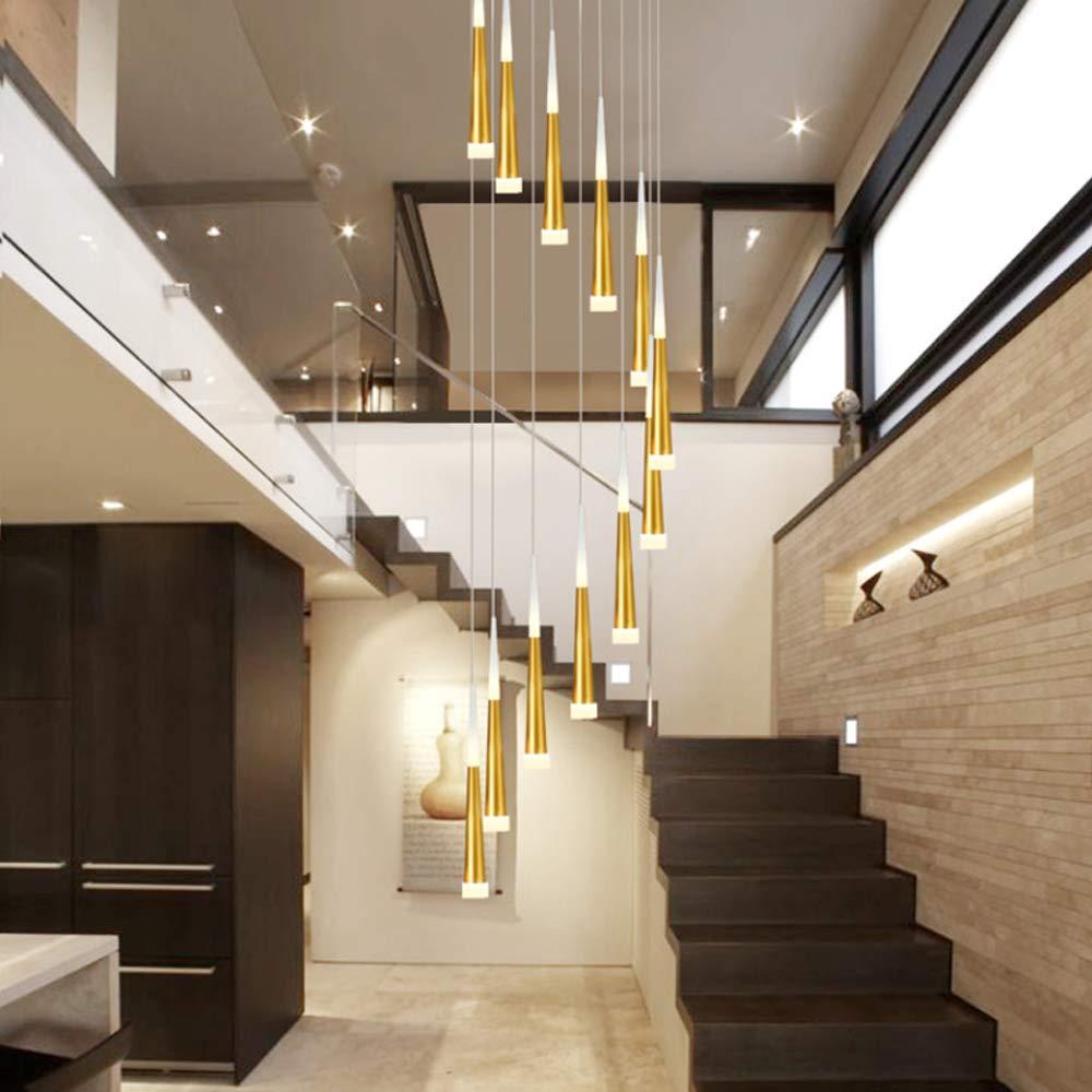 LED Luz de suspensión Escaleras dúplex Candelabro Dentro Decoración Lámpara colgante Altura ajustable 12 quemadores Oro Luz de la escalera por Vivo Comedor Villa Hotel Araña de luces 60W Luz calida: Amazon.es:
