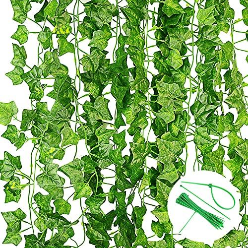 Noa Home Deco Plantas Hiedra Artificial Enredaderas Artificiales,12 Piezas, Colgantes Decoración Hojas Follaje Falsas Interior Exterior ( 2.2M, con Bridas de Cables)