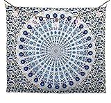 bh+ Tapiz de pared con mandala, psicodélico indio, decoración de pared para dormitorio, 130 x 150 cm, decoración oriental, bohemio indio, incluye ganchos de pared (blanco y azul)