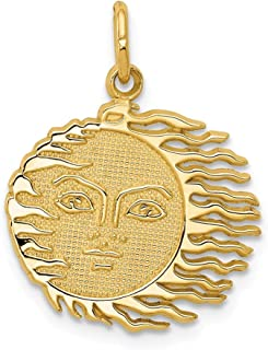 14k Yellow Gold Flaming Sun Pendant Charm Necklace Celestial Fine Jewelry Gifts For Women For Her