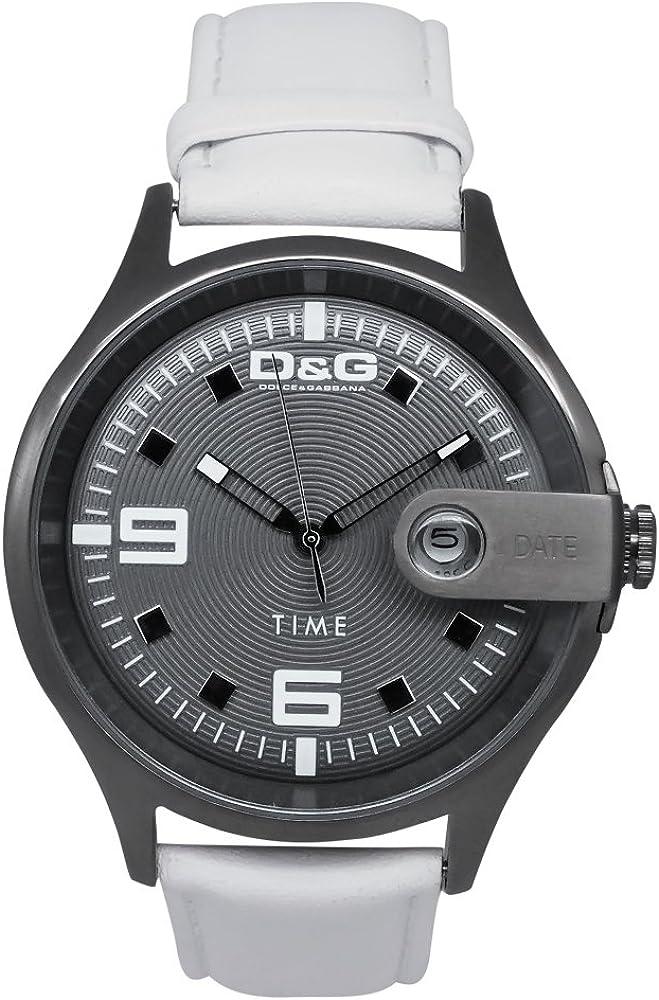 Dolce & gabbana,orologioda uomo, cinturino in pelle e cassa in acciaio inossidabile DW0316
