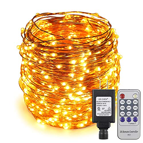 ER CHEN 165ft Led String Lights,500 Led Starry Lights on 50M Copper Wire String Lights Power Adapter + Remote Control(Warm White)