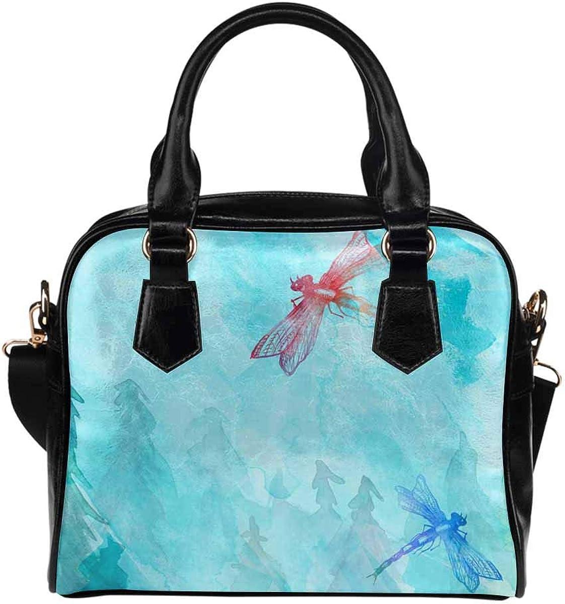 Watercolor Dragonfly PU Leather Purse Handbags Shoulder Crossbody Bag for Women Girls