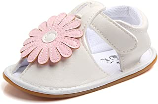 Lidiano Baby Toddler Sewing PU Leather Vamp Flower Slip On Non-Slip Sandals First Walker (12-18 Months, White)