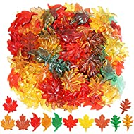 Winlyn 180pcs Mini Fall Leaves Acrylic Maple Leaf Oak Leaf Assorted Table Scatter for Fall, Autumn and Thanksgiving Decoration Preschool Counting