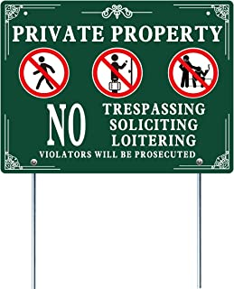 FYYZY Private Property No Trespassing Sign with Mount Rust Free Reflective Weather Resistant Heavy Duty Aluminum Warring Signs