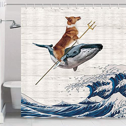 JAWO Funny Corgi H& Duschvorhang, The Corgi fährt einen Wal auf riesigen Wellen, rustikaler Holzbrett-Hintergr&, Kanagawa Great Wave Stoff Duschvorhang-Set mit Haken, 175 x 178 cm (B x L)
