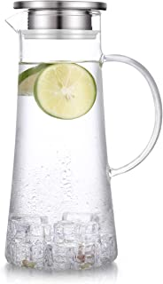 Womdee 1.5 Liter 51 Ounces Glass pitcher with lid covered gallon iced tea pitcher lidded water jug hot cold water ice tea ...