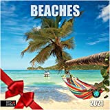 Beaches - 2021 Hangable Wall Calendars by Red Ember Press - 12' x 24' When Open - Thick & Sturdy Glossy Paper - Kick Back and Relax
