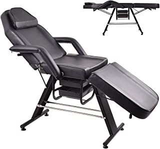 Adjustable Black Massage Table Bed Chair Couch for Salon Beauty Physiotherapy Facial SPA Tattoo Household with Adjustable Beauty Basket