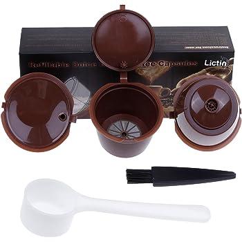 Lictin 3 Pack Cápsulas Filtros de Café Recargable Reutilizable para Cafetera Dolce Gusto Resistente Más de 150 Usos de Sustitucion de Cápsula de Café Dolce Gusto, color Marrón