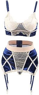 Womens Lingerie Set Plus Size Lace Overlay Bra with High Waist Garter Belt Underwear