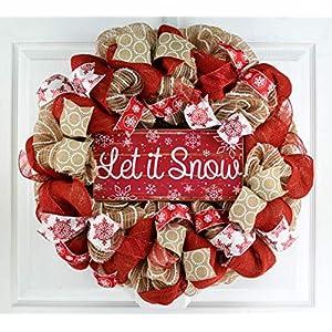 Burlap Let It Snow Wreath | Winter Christmas Mesh Front Door Wreath; White Red Brown Jute