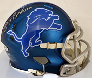Barry Sanders Autographed Detroit Lions Blue Blaze Mini Helmet Beckett BAS