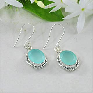 2da09971b Sivalya 3.00 Ct Oval Natural Blue Peruvian Opal Earrings in 925 Oxidized Sterling  Silver, Genuine