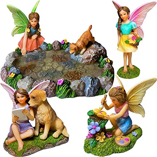 Fairy Garden Miniature Pond Kit - Figurines and Accessories Set of 5 pcs