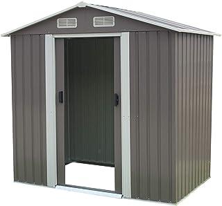4ft x 6ft Garden Sheds Tool Storage Outdoor Workshop Shelter Spire Roof - Grey