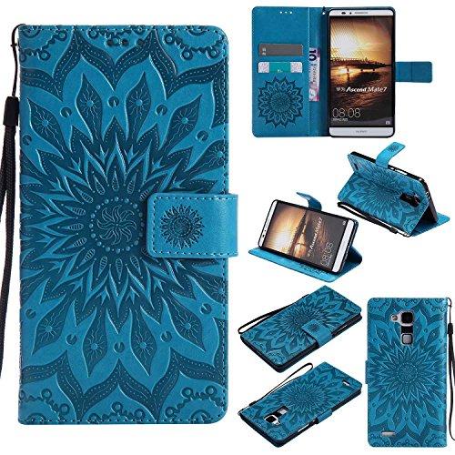 pinlu® PU Leder Tasche Etui Schutzhülle für Huawei Ascend Mate 7 (6 Zoll) Lederhülle Schale Flip Cover Tasche mit Standfunktion Sonnenblume Muster Hülle (Blau)