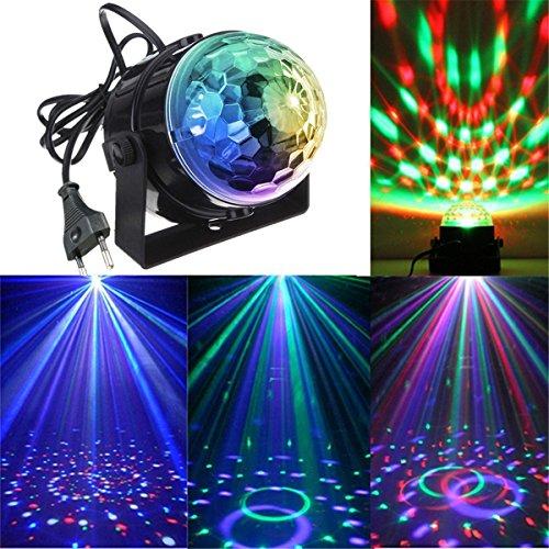 KingSo Lampe, Scheinwerfer, 5 W, Mini, Sprachsteuerung, magisches Licht, für Hotels/Bar, Bühne, farbig, kleine Kugel, 100-240 V mit automatischer Bewegungsfunktion schwarz