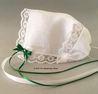 Irish Linen Hankie Bonnet, Rose of Sharon Lace