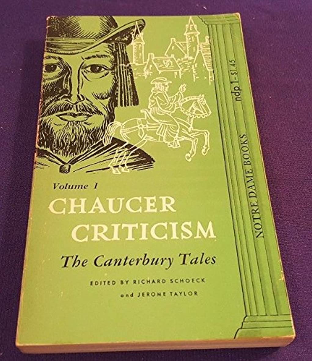1965?Chaucer Criticismボリューム1?Paperback Book by Notre Dame押しCanterbury Tales