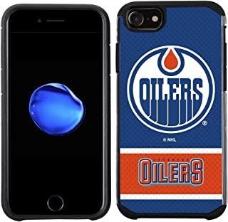 Apple iPhone 8/ iPhone 7/ iPhone 6S/ iPhone 6 - NHL Licensed Edmonton Oilers Blue Jersey Textured Back Cover on Black TPU Skin