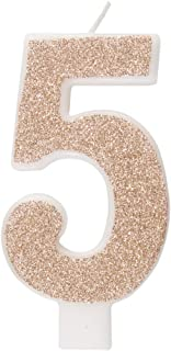 Unique Party 84975 84975-Glitz Rose Gold Number 5 Birthday Candle, Age 5