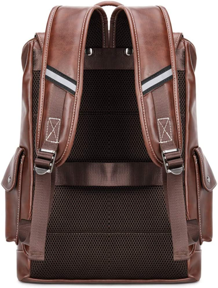 XIMIXI Laptop Backpack 14 Inch Anti Theft PU Leather Travel Backpack Mens and Womens Rucksack Casual Daypack Brown