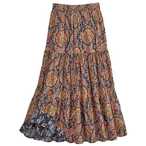 CATALOG CLASSICS Women's Paisley Print Reversible Broomstick Skirt - 36' Maxi - Large