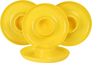 GreatPlate GP-YLO-4PK AZ Yellow Plate 4-Pack, 4 Yellow GreatPlates, Food Tray and Beverage Holder, Dishwasher Safe, Microwave Safe, Made in USA, Picnics, Parties, Tailgates, Appetizers, Great for Kids