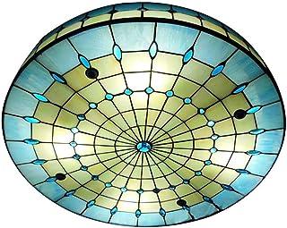 Lámpara de Techo Tiffany Luz de Techo de Montaje Empotrado Colorida y Creativa Hecha a Mano Plafón Decoración para Dormitorio, Sala de Estar, Hotel, Cocina, Restaurante, Azul, E27 Base,Ø40cm