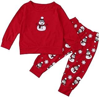 942bc148db06a Sunenjoy 2 PCs Enfant Bébé Fille Garçon Tenues Noël Vêtements Bonhomme  Imprimer T-Shirt Tops