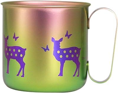 ホリエ チタンデザインマグカップ 動物 シカ(グリーンピンク) TMA-214C
