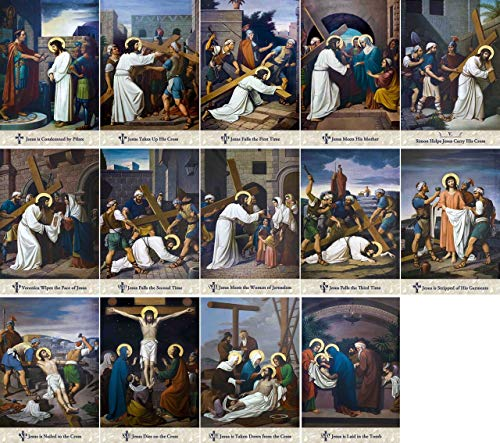 "Catholic to the Max Emmerich Outdoor Aluminum Stations of The Cross Plates (Set of 14) | Lent Devotional Handcrafted (6"" x 9"")"