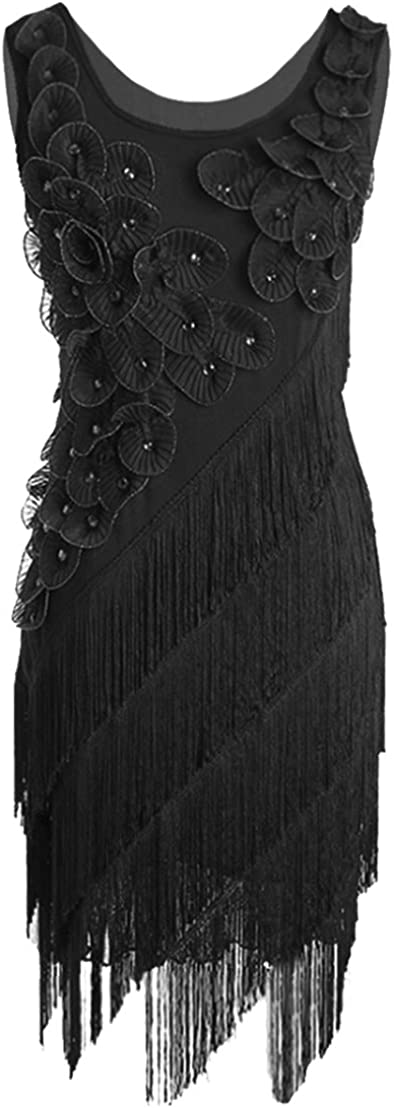 PrettyGuide Women's Popular shop is the lowest price challenge 1920s Max 54% OFF Gatsby Beaded Petal Scalloped Fringe P