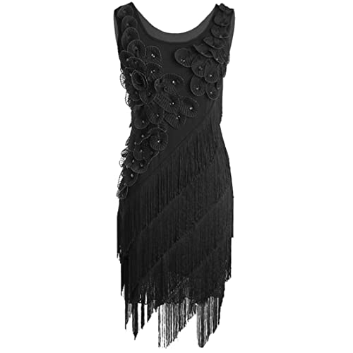 dcc4b17982f PrettyGuide Women s 1920s Beaded Fringe Scalloped Petal Plus Size Flapper  Dress