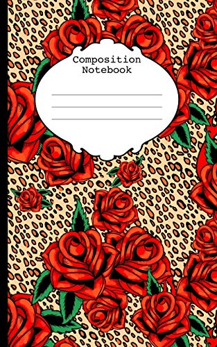 """Composition Notebook: red tattoo roses on leopard, rockabilly wide ruled 75 page mini notebook 5"""" x 8"""""""